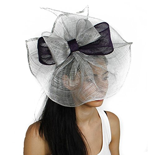Price comparison product image Hats By Cressida 12 Inch Commodore Sinamay Ascot Fascinator Hat Women's with Headband - Black / Silver