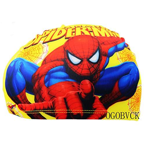 OGOBVCK Gorra de baño Infantil, Impermeable, Gorra de baño, Protector de Orejas, Gorra de natación Flexible, Dibujos Animados. (Spiderman)