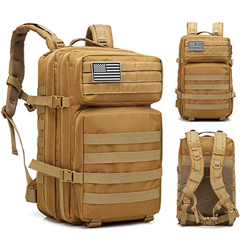 45L Military Tactical Backpack Large 3 Day Assault Pack Army Molle Bug Out Bag Backpacks Waterproof Rucksacks Daypack for Outdoor Traveling, Camping, Trekking & Hunting (Khaki)