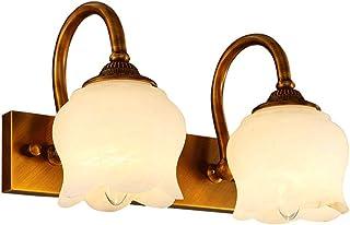 MJJ- Espejo de Baño con Iluminación LED Todo cobre estilo europeo Lámpara de pared LED Baño Espejo de baño Lámpara Imitac...