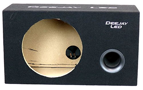 Single Empty Ported Car Speaker Box for 11.13-in Diameter Hole for 12-in Woofer Vented Design Terminal Hole with Carpet with Embroidered Stitched Logo 3/4 MDF Gold Posts DEEJAYLED 1X12VENTEDSQUARE