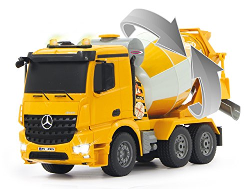 RC Auto kaufen LKW Bild 5: Jamara 404930 - Betonmischer Mercedes Arocs 1:20 2,4GHz – rechts / links drehende Mischtrommel mit Entladefunktion, realistischer Motorsound,Hupe,Rückfahrwarnsound,4 Radantrieb,gelbe LED Signallichter*