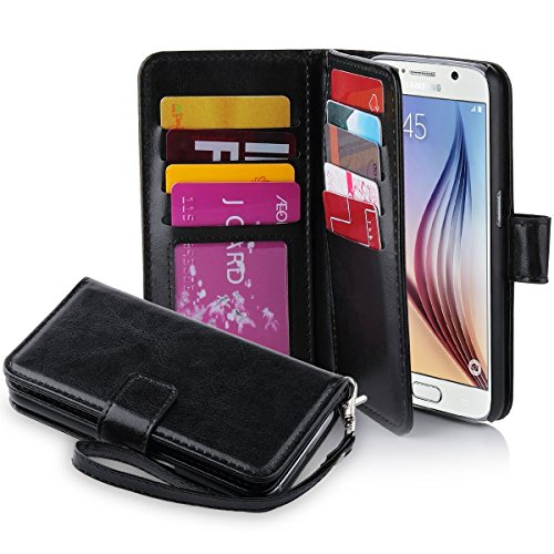 J.west Galaxy S6 Case, Galaxy S6 Wallet Case, Premium PU Leather Case Magnetic Wallet Credit Card ID Holder Flip Cover Case with 9 Card Slots and Wrist Strap Case for Samsung Galaxy S6 Black