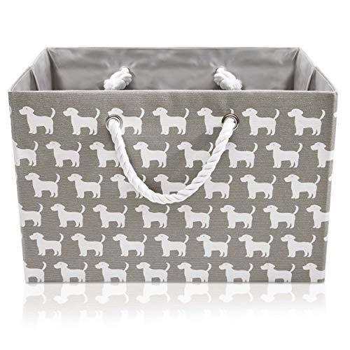 Faltbare graue Canvas Ablagekorb - hochwertige Rechteck Stoff Korb mit weißen Hunden - perfekt für den Haushalt Lagerung, Stoffe oder S