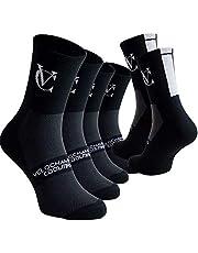 VeloChampion Pack de 3 Pares de Calcetines Speedline Coolmax - Blanco/Negro/Amarillo. Transpirable para Ciclismo, Fitness y Deportes