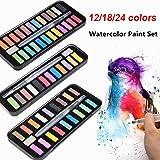 Dibujo sólido con pigmentos de pincel Color de agua Suministros de arte Set de pintura para estudiantes de arte Artista Acuarela 18/12/24 colores Nuevo, 24 colores
