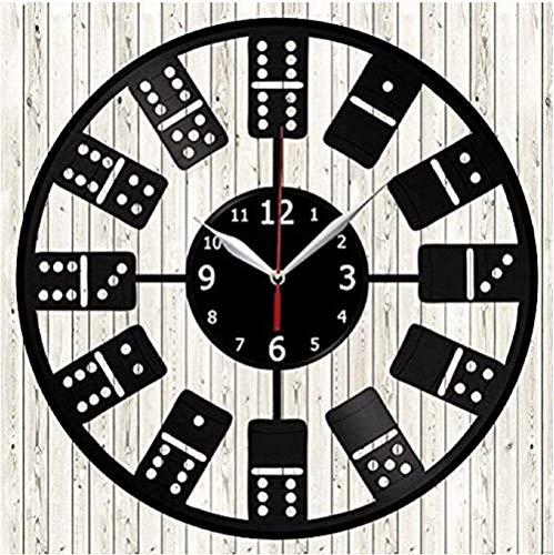 tjxu Kreative Domino Vinyl Wanduhr Modernes Design CD Vinyl Schallplatte mit dekorativer 3D Uhr mit LED-Nr