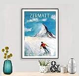 Zermatt, Suisse Vintage Travel Poster By Faruk Koksal -
