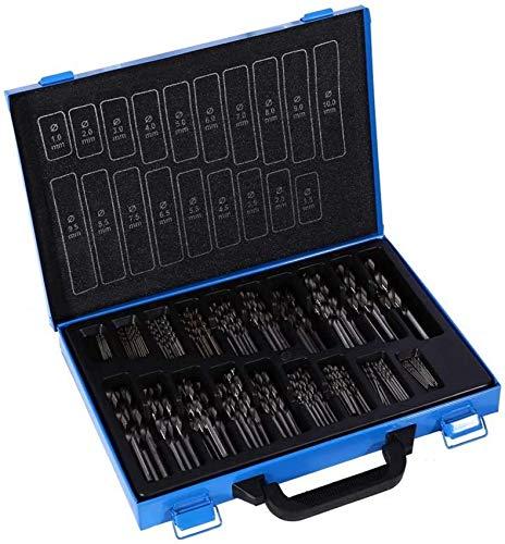 ZHFF Tool,High Speed Steel Twist Drill Bit Set, High Wear Resistance Hss Twist Drill Bit Set, Iron Box Packing Drill Bit Kit 1-10mm, 170 Pieces