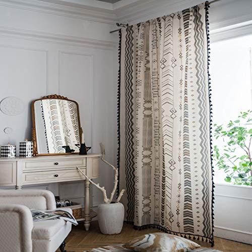 "JAIJY Black Tassels Drapes Arrow Vertical Striped Printting Cotton Linen Fabric Rod Pocket Window Curtains Panels Thermal Insulated Boho Living Room Decorative, 1 Panel, 59""x86"", Arrow"