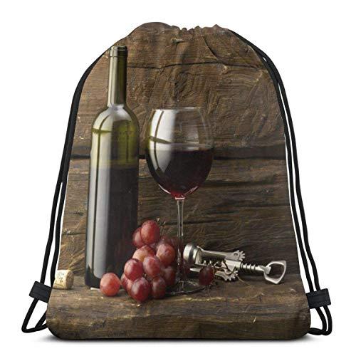 asdew987 Mochila informal, mochila de viaje, bolsa de entrenamiento con cordón, mochila escolar, bolsa de gimnasio, unisex con cordón, bolsas de hombro, botella de uva y bolsa de cuerda de cri