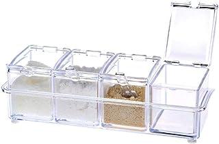 N\P Quatre en Un avec cuillère Organisateur de Cuisine boîtes de Rangement épices assaisonnement Pot Transparent Sucre sel...
