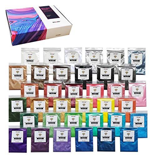 VITARIE Mica Powder, Glimmer Pigment Set, (36er x 5g) Metallic Epoxy Resin Farbe Farbpigmente Pigmentpulver Farben Pigment- Seifenfarbe, Badebombe, Kerze, kosmetischer, Lidschatten, Nagellack