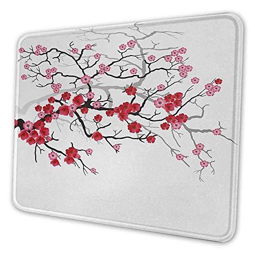Natur Niedliches Mauspad Japanische Pflanze Sakura Blume mit abstraktem Hintergrund Kunst Persönlichkeitsmuster Mauspad Dunkelbraun Dunkle Koralle und Hellrosa