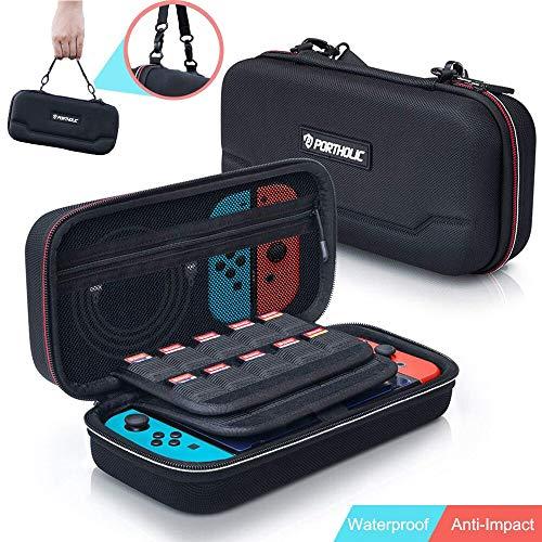 Tasche für Nintendo Switch,PORTHOLIC Nintendo Switch Tragetasche Hartschalen Aufbewahrungs,Lagerung 30 Spiele/Schutz hülle Griff Design/Mesh-Schutzdesign Nintendo Switch Zubehör
