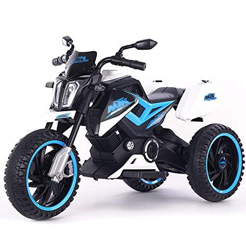 XLAHD Niños Motocicleta eléctrica Paseo en Motocicleta a batería Freno Delantero Niños Scooter eléctrico Vehículo Luces de Trabajo Música Adecuado para niños, Azul