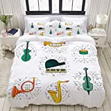 SmallNizi Juego de Funda nórdica, Conjunto de vectores, Instrumento Musical, Guitarra, Piano, Juego de Cama Decorativo Colorido de 3 Piezas con 2 Fundas de Almohada