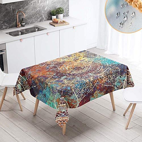 Chickwin Impermeable Antimanchas Rectangular Mantel para Mesa, Mandala Psicodelica 3D Mantel Lavable Resistente Desgaste Tela de Poliester para Cocina Salon Comedor (140x260cm,Vintage Marron)