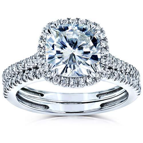 Kobelli Cushion Brilliant Moissanite Halo Bridal Wedding Rings Set 2 3/8 CTW 14k White Gold (DEF/VS, GH/I), 8