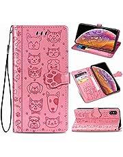 Oihxse Billetera Cuero Funda Compatible con iPhone XS MAX PU Libro Tapa Flip Soporte Plegable Protector Magnético Carcasa Gato Perro Lindo Animal Diseño Wallet Case-Rosa