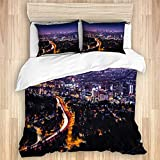 LONSANT View of Downtown Los Angeles from The Hollywood Hills Studio Single Apartment Decorate Decorative Custom Design 3 PC Duvet Cover Set Queen/Full