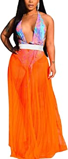 Howely Women's See Through Sheer Mesh Long Skirt Beach Casual Maxi Skirts