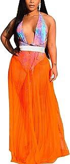 Mfacisa La Mujer es Ver a través de la Malla Escarpada Playa Maxi Faldas Falda Larga Fiesta