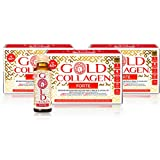 Gold Collagen Forte | El Complemento Antienvejecimiento de Colágeno Líquido| Bebida de colágeno marino con ácido hialurónico, antioxidantes, vitaminas y minerales para piel, cabello y uñas | 30 días
