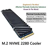 icepc-DIY M.2 PCI-E NVME 2280 SSD Graphene Coating Copper Heatsink,High Performance SSD Radiator with Thermal Pad for Laptop PC 2280 NGFF Solid State Disk Cooler(70x20x2mm)