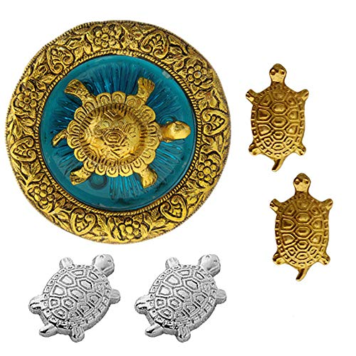 Divya Mantra Japanese Lucky Charm Money Turtle 2 Pairs Home Decor & Chinese Feng Shui Metal 2.5 Inch Tortoise with 4 Inch Diameter Water Plate; Vastu Living, Wealth, Health, Good Luck Set - Multicolor