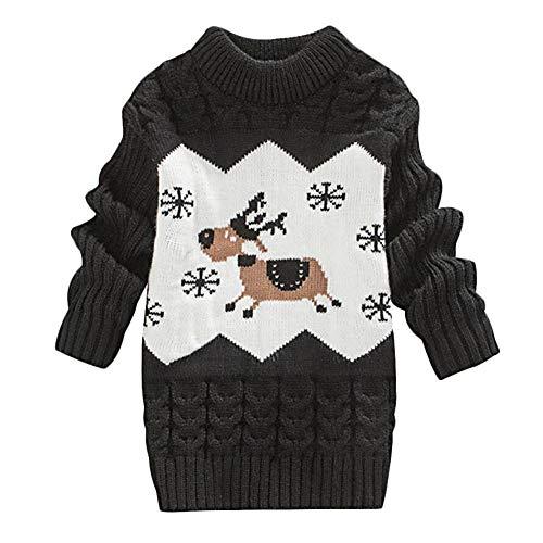 DEBAIJIA Baby Pullover Kleid Kinder Weihnachten Jumper Kinder Winter Dicker Strickpullover Rundhals Warm Bequem Atmungsaktiv Weich Hautfreundlich Geeignet für 1-3T Jahre Altes Kleinkind Jungen Mädchen