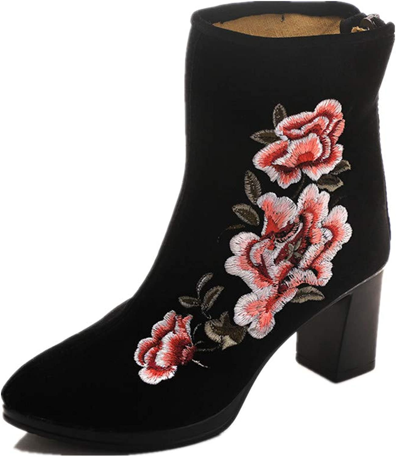 Tianrui Crown Women and Ladies The Hibiscus Embroidery Frog Button Boots Square Heel Boot shoes
