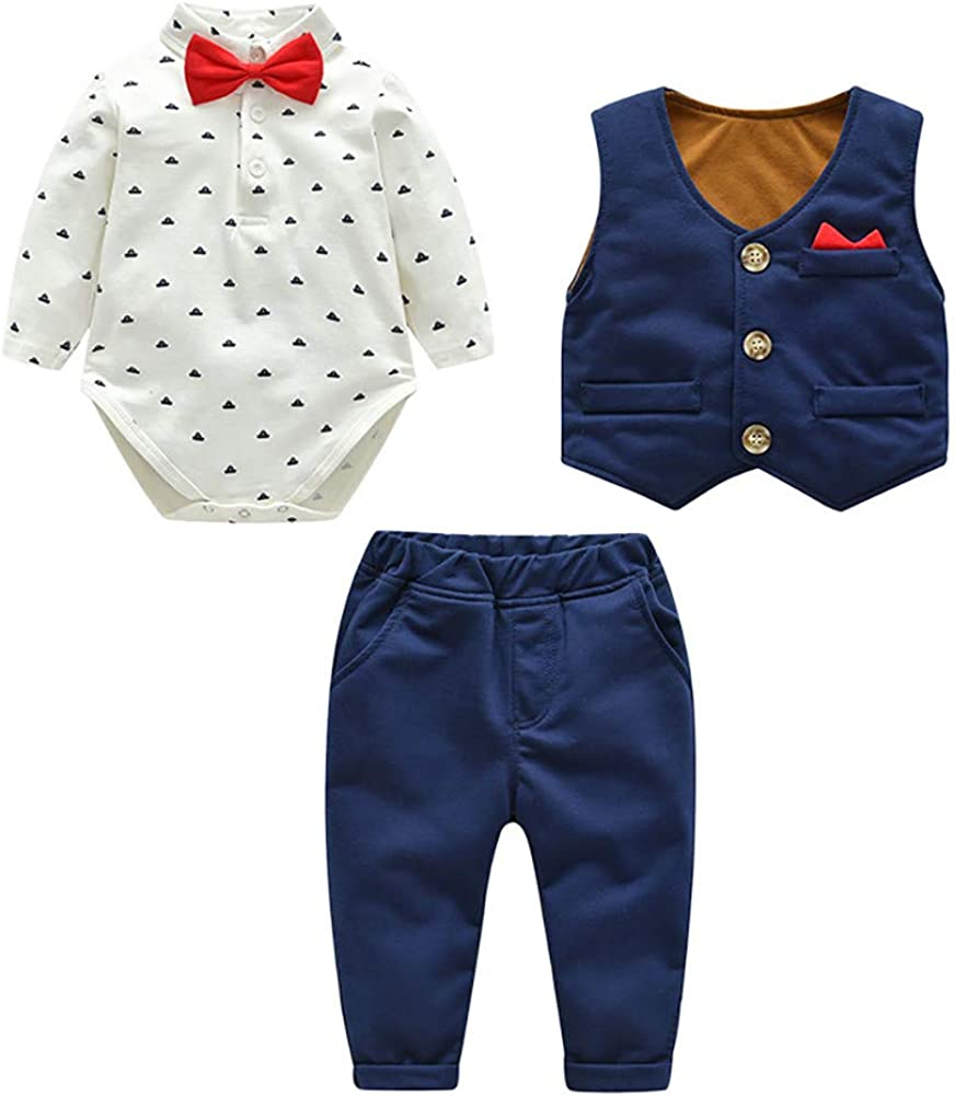 LittleSpring Baby Boy Dress Outfit 3 Piece Formal Suit for Party