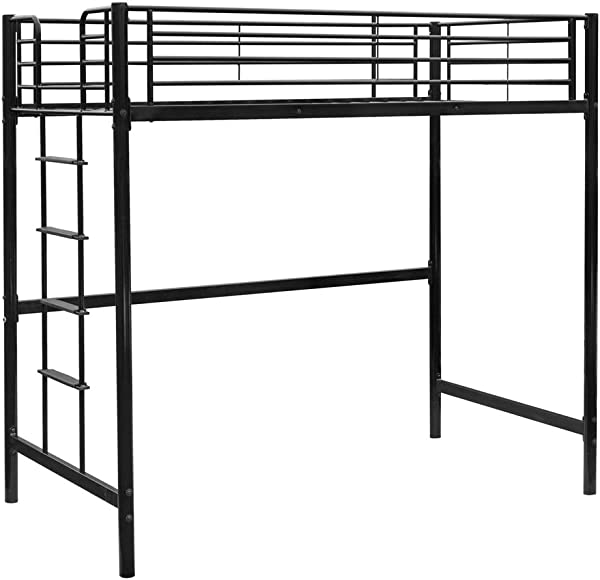 Bonnlo Twin Metal Loft Bed Frame For Kids Adults Teens Space Saving Design Black