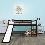 Loft Bed, Rockjame Twin Wood Kids Bed with Slide Multifunctional Design for Boys, Girls and Young Teens (Espresso)