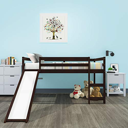 Vktech Kids Loft Bed with Slide, Multifunctional Design, Twin(Espresso)