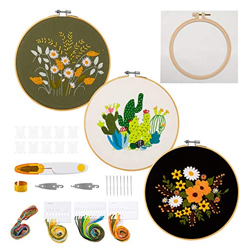 JARLINK 4 Pack Embroidery Starter Kit with Instructions, Cross Stitch Kit for Adults Beginners, Including Embroidery Hoops, Embroidery Cloth with Plant Flowers Pattern and Diy, Color Threads and Tools