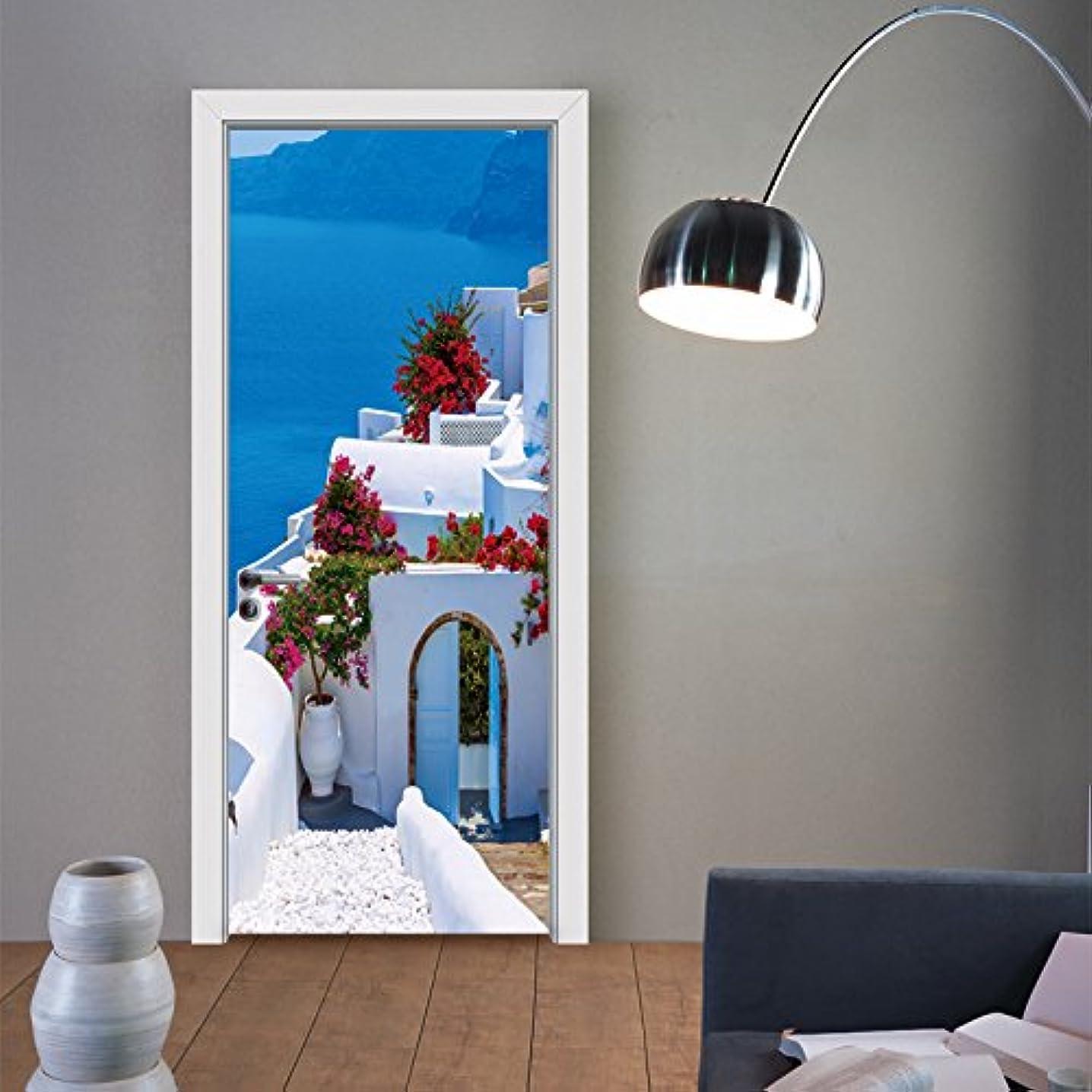 水曜日明るい求人Star Moon Moo ドア用のステッカー ウォールステッカー 地中海の建物 ギリシャ はがせる オシャレ 部屋 壁飾り トイレ 3D立体 壁紙