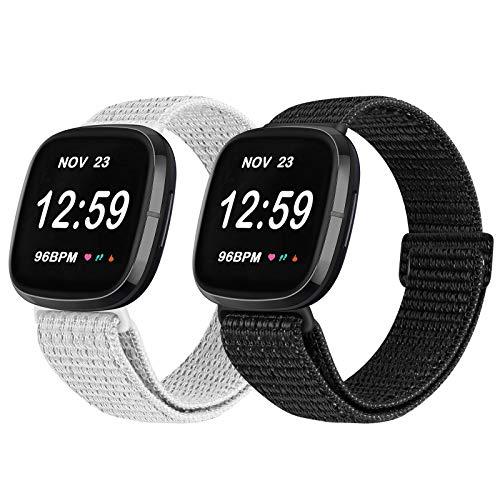 Vodtian Correa ajustable de nailon compatible con Fitbit Versa 3/Fitbit Sense Watch, correa de repuesto deportiva para hombre y mujer (negro reflectante y blanco reflectante)