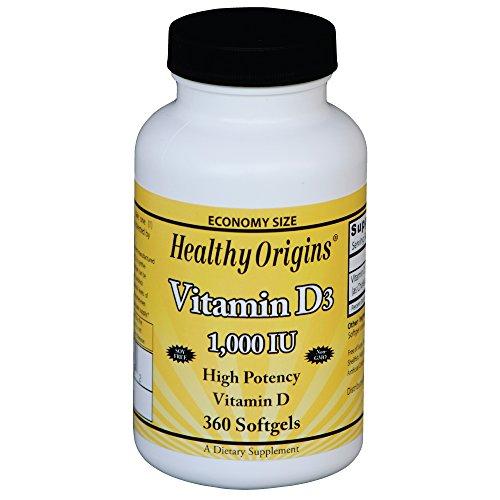 Healthy Origins, 1000 UI di vitamina D3, 360 Softgels