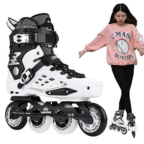 DODOBD Patines en Línea para Adultos, Patines al Aire Libre Hombres, Mujeres y Adolescentes, Zapatos de Patinaje de Velocidad Negros para Principiantes Especializados, Patines de Ruedas