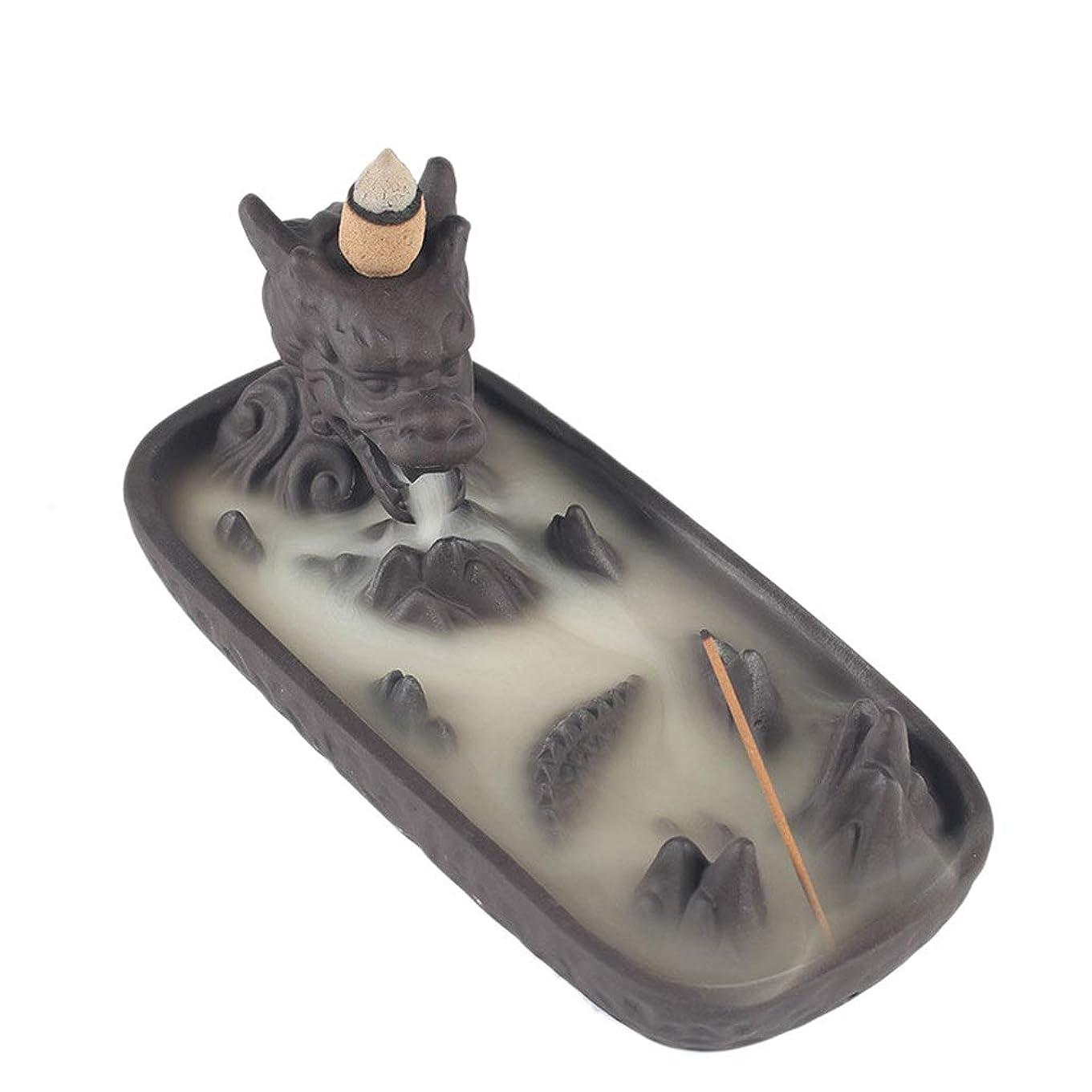 クラフトメアリアンジョーンズ拷問セラミックドラゴンセンサー家の装飾クリエイティブ煙逆流香バーナー香スティックホルダー香コーン香香ホルダー (Color : Gray, サイズ : 6.61*3.14*2.67 inches)