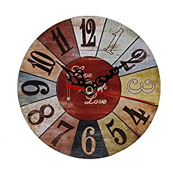 Ywoow Clock Clock, Vintage Style Antique Wood Wall Clock for Home Kitchen Office, Retro Clock Wall Clock Living Room Clocks