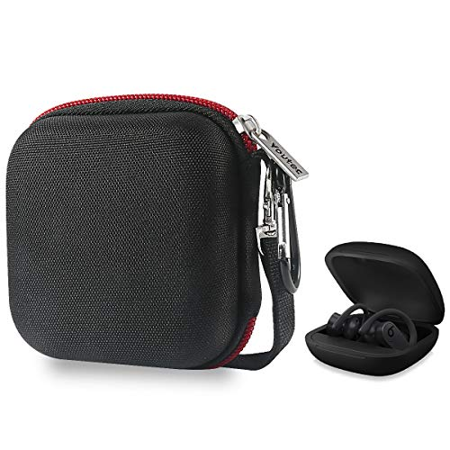 Youtec Compatible with Powerbeats pro Case Cover, Hard Travel Protective Carrying Storage Cover Case Nylon Accessories Bag Women Men with Lanyard + Carabiner Compatible with Power Beats Pro
