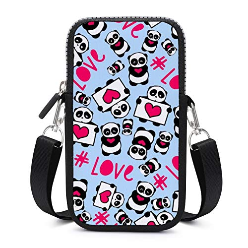 Cellphone Purse Crossbody with Removable Shoulder Strap Romantic Funny Pandas Wear-resistant Pouch Case for Phone Armband Wallet Yoga Bags Men