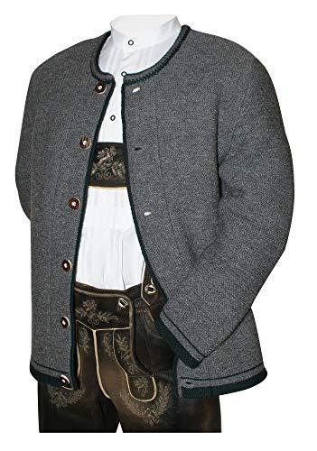 Wolljacke Trachtenjacke Strickweste Janker Strickjacke Strickjanker 100% Schurwolle gestrickte Herren Jacke Janker Wolle Wolljanker grau Trachtenjanker Strick Trachtenweste, Größe:54
