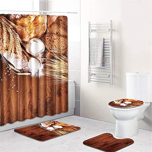FNMDP Essen Duschvorhang Sets Mit Anti-Rutsch-Teppichen, Toilettendeckeln Deckel Und Badematte, Lebensmittel Duschvorhang Mit 12 Haken, Durable Wasserdicht,H