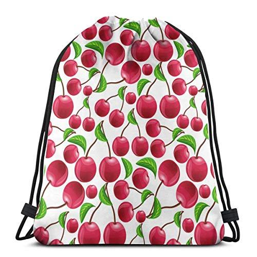 Bingyingne Zaino con coulisse rosso ciliegia Sacca da palestra Borsa a tracolla Cinch Bag