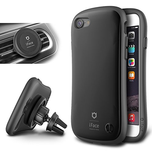 iFace Duo Case and Magnetic Car Mount Set for iPhone 7-2 in 1 Rugged Military Grade Protective Case with Car Holder/Kickstand [Space Black]