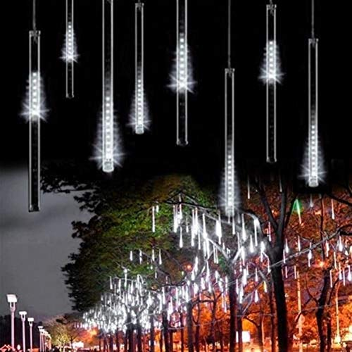 OMGAI Waterproof Meteor Shower Rain Lights - 30cm 8 Tubes Drop Icicle Snow Falling Raindrop Cascading Lights for Wedding Party Christmas, Shine White